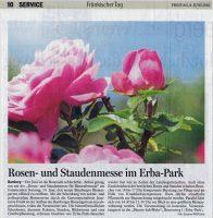 FT Ankündigung Rosen- und Staudenmesse im Erba-Park