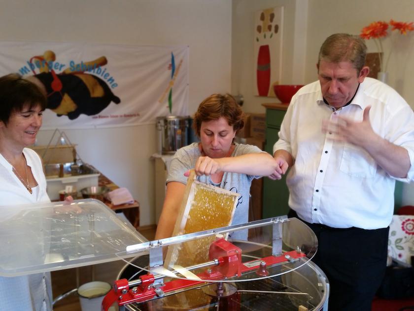 Susanne Böhmer steckt Honigwabe in die Schleuder.