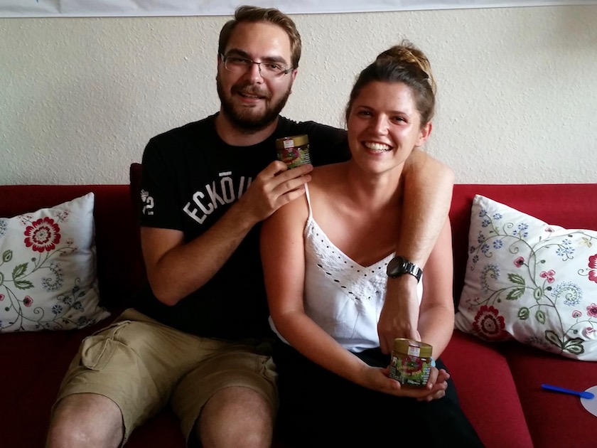 Präsentation des Bamberger Lagenhonigs durch Ekkhart und Anja