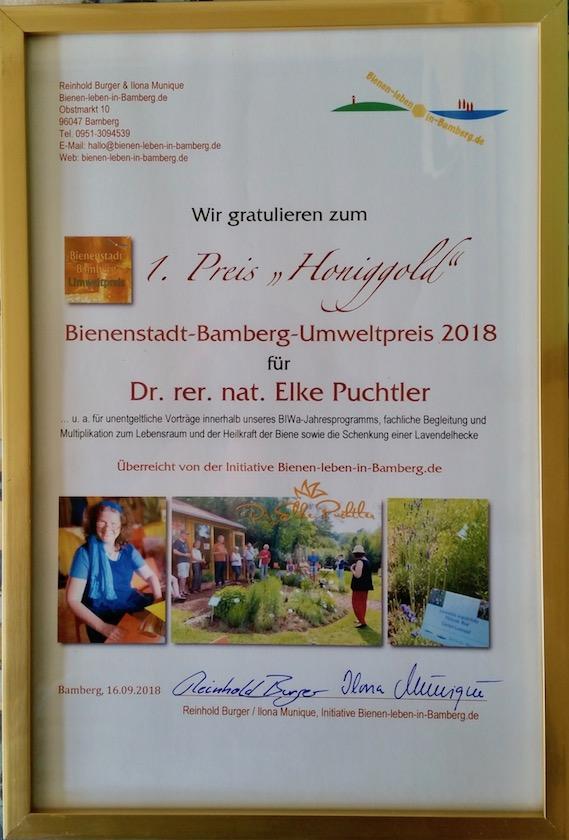 Urkunde 1. Preis Bienenstadt-Bamberg-Umweltpreis 2018