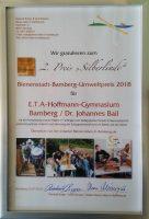 Urkunde 2. Preis Bienenstadt-Bamberg-Umweltpreis 2018