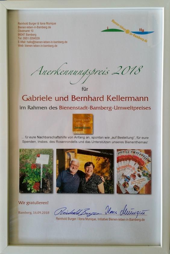Anerkennungsurkunde Bienenstadt-Bamberg-Umweltpreis 2018