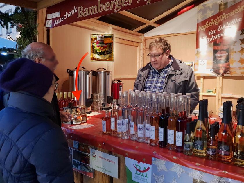 Bamberger Lagenhonig auf dem Weihnachtsmarkt Bamberg unter den Fittichen von Edelbrennerei Johann Schilling