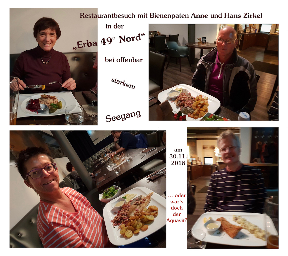 Restaurantbesuch mit Bienenpaten Hans und Anne Zirkel