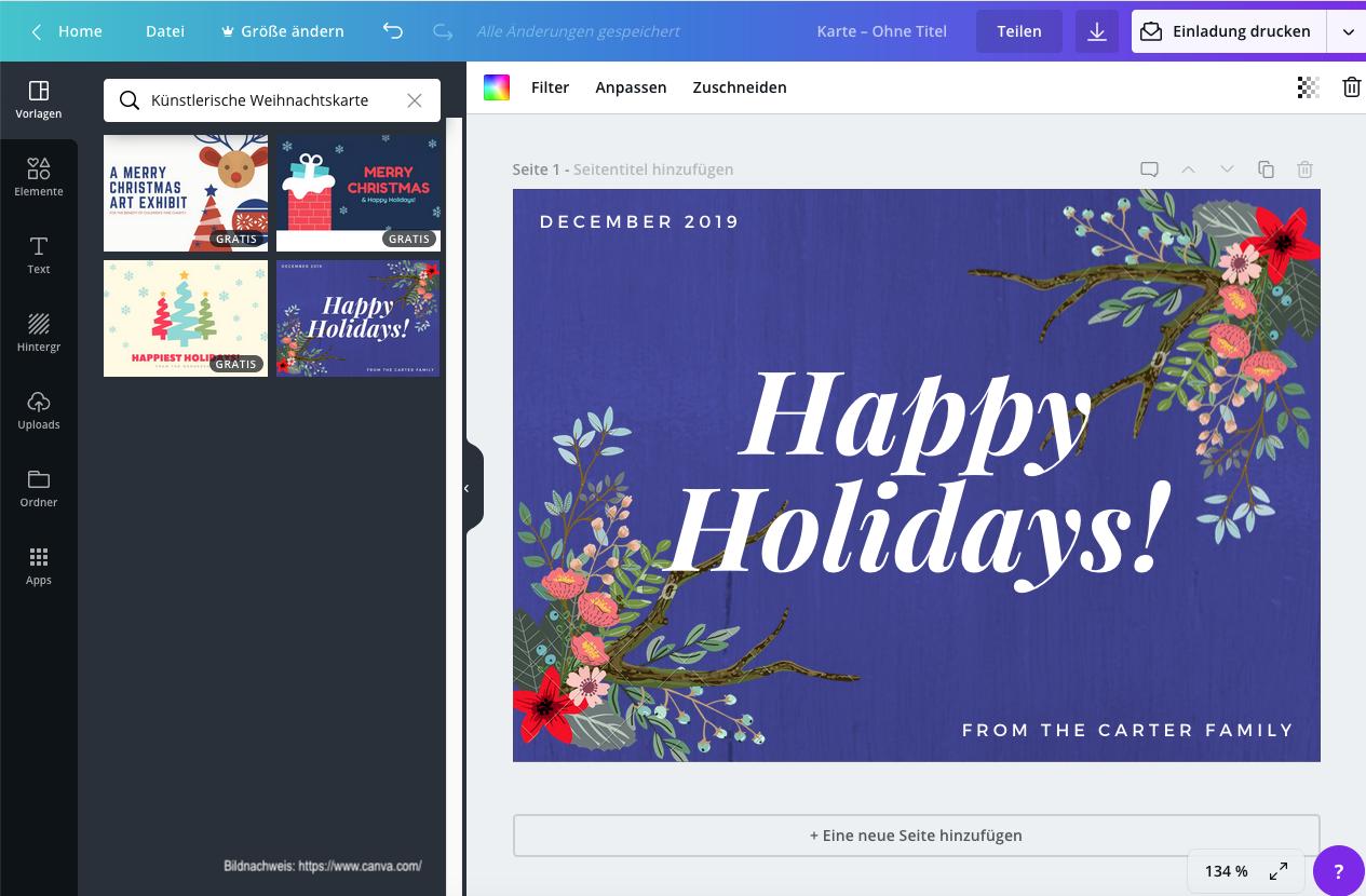 https://www.canva.com/ Weihnachtskarte Schritt 3