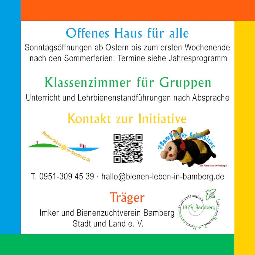 Schild der Betriebszeiten der Bienen-InfoWabe (BIWa)