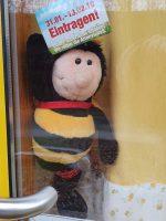 Deko an der Bienen-InfoWabe zum Volksbegehren