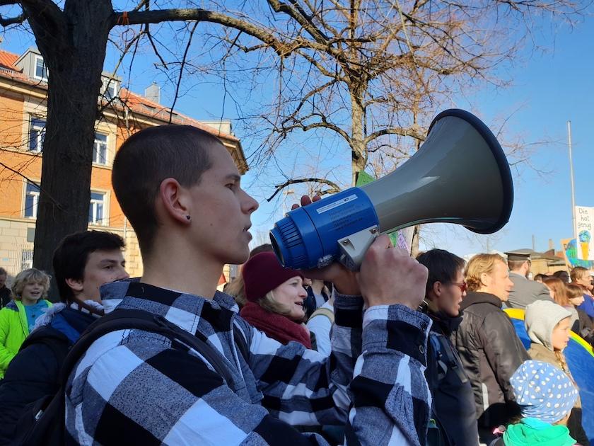 """Julius Land (Orga-Team) zur Demonstration """"Nicht mit uns!"""" Bamberg am 16.02.2019"""