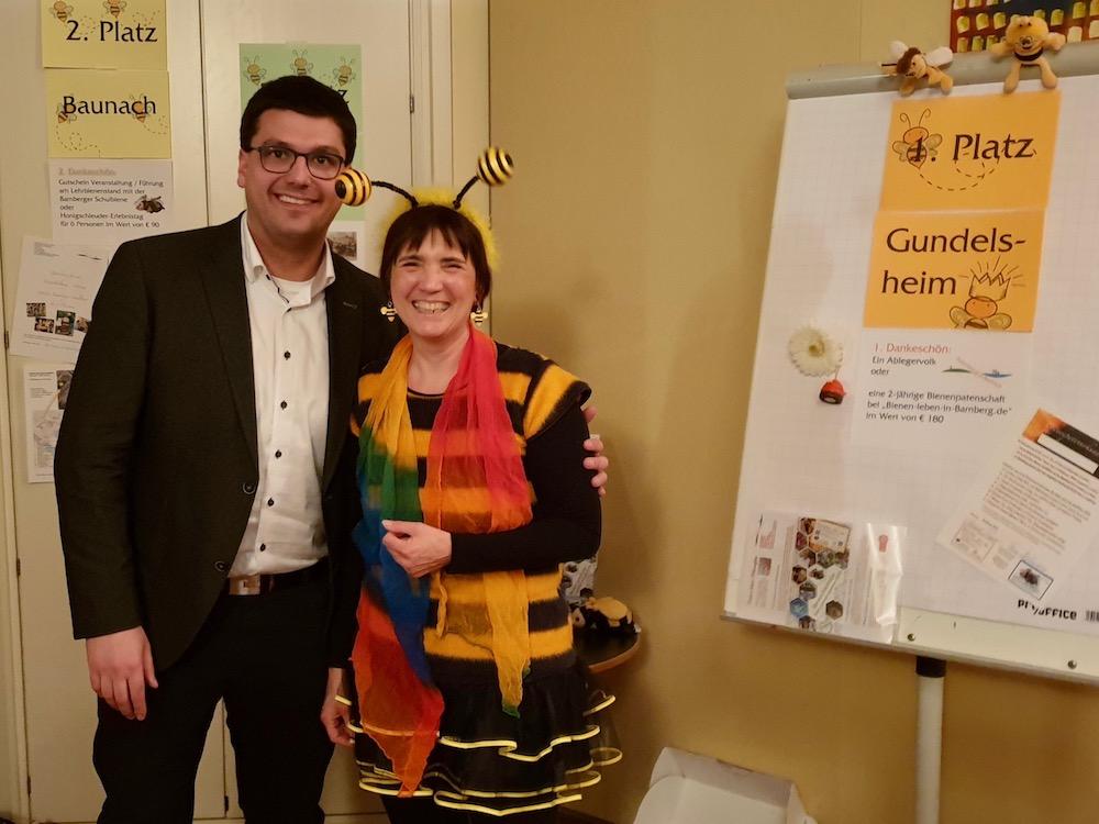 1. Platz im Ranking der Landkreisgemeinden Bambergs zum Volksbegehren: GUNDELSHEIM, hier mit Bürgermeister Jonas Merzbacher und Bamberger Schulbien