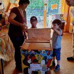 Honigwabe, Anschauung für Gäste zur Saisoneröffnung der Bienen-InfoWabe