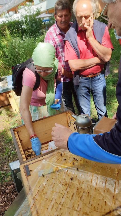 Am Lehrbienenstand Fünferlessteg, Thema Varroabehandlung mit Liebigdispenser