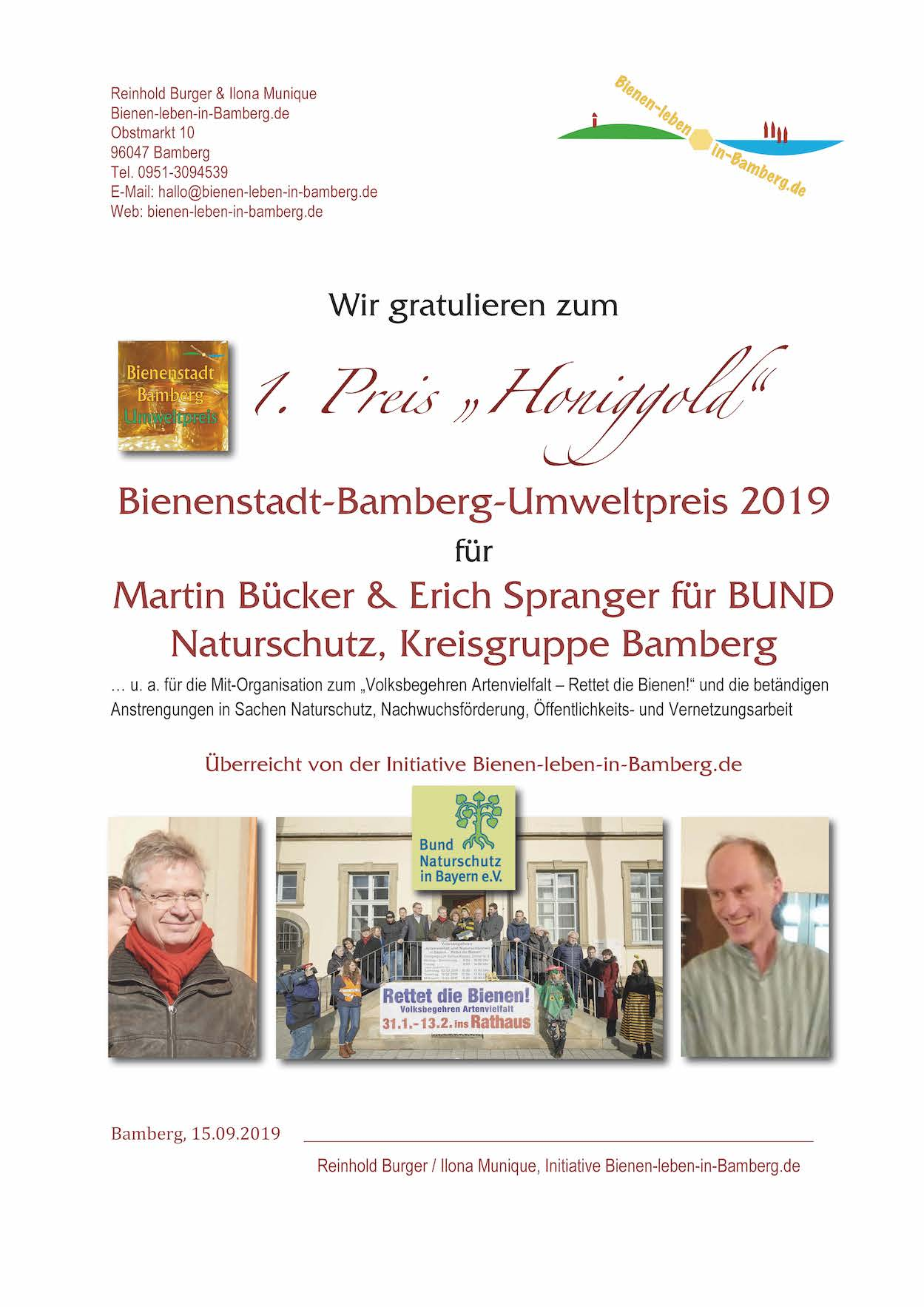 1. Preis BBU 2019 an Martin Bücker und Erich Spranger