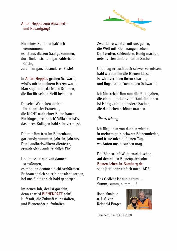 Gedicht für Bienenpate Anton Hepple zum Amtsabschied