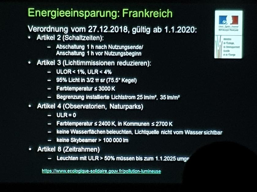 Folie zum Vortrag Lichtverscmutzung mit Sabine Frank
