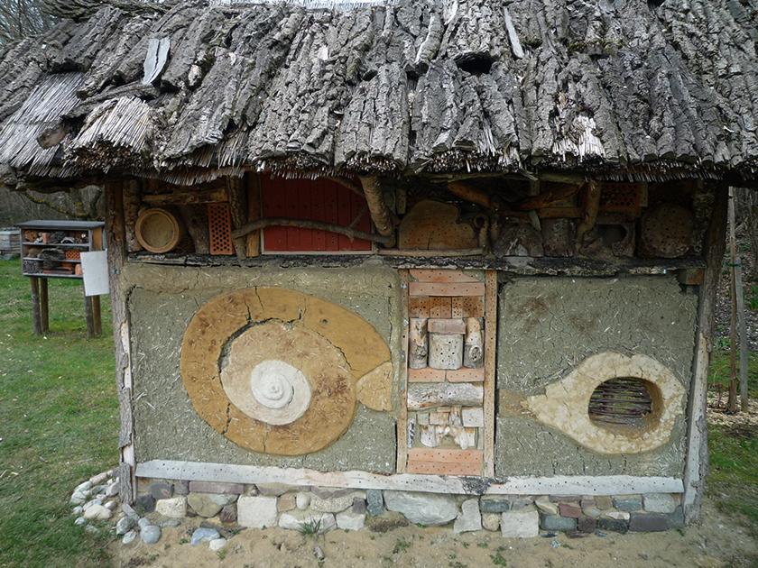 Lehmwand als Nisthilfe für Wildbienen