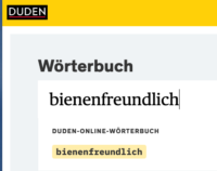 """Duden Wörterbuch, Eintrag """"bienenfreundlich"""""""