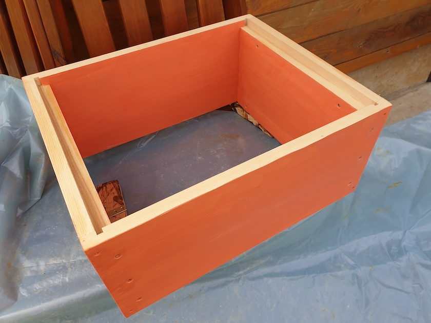 Oranges Regal für neue Innenraumgestaltung der Bienen-InfoWabe