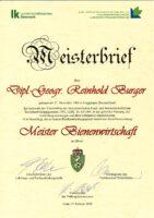 Urkunde / Imkermeisterbrief für Reinhold Burger 2020