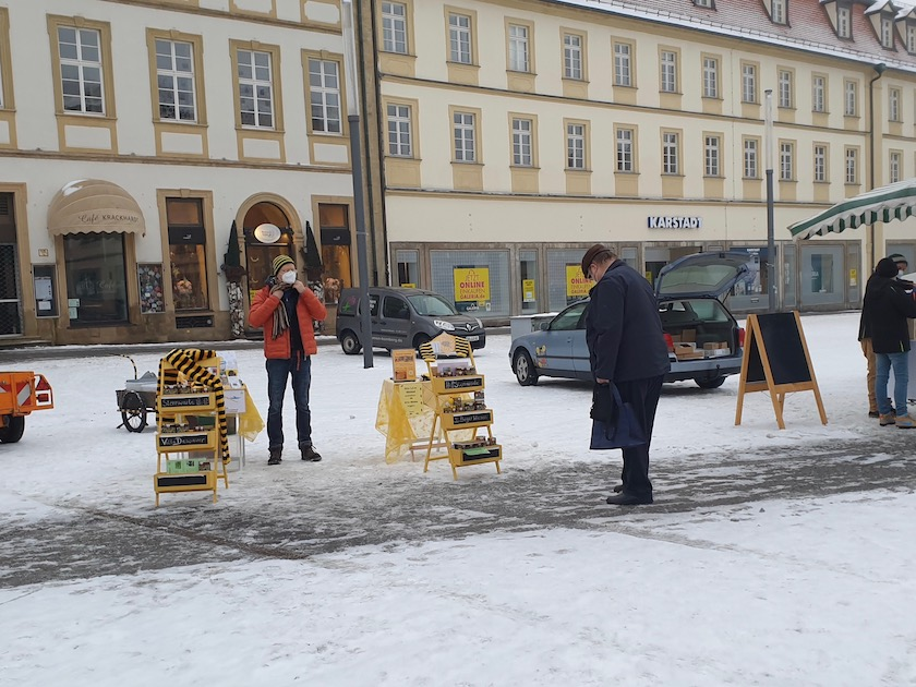 Unser Stand am Honigmarkt Bamberg, Faschingsdienstag 2021