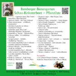 Tafel mit Pflanzliste zum Schau-Kräuterbeet im Bamberger Bienengarten, Bienenweg 1