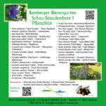 Tafel mit Pflanzliste zum Schau-Staudenbeet 1 im Bamberger Bienengarten, Bienenweg 1