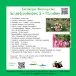 Tafel mit Pflanzliste zum Schau-Staudenbeet 2 im Bamberger Bienengarten, Bienenweg 1