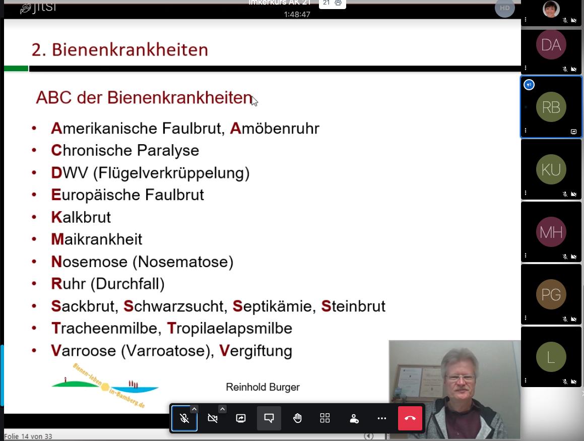 Screenshot Online-Kurs, Imkeranfängerkurs, AK21, Modul3, Bienenkrankheiten